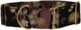 Fancy Collar: MB245-1.5 Dark Brown Brocade Gold Flwrs - Click For Enlargement