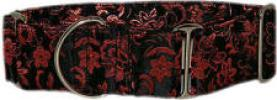 Fancy Collar: MB246-1.5 Black Brocade Red Flowers - Click For Enlargement