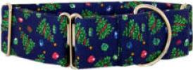 Fancy Collar: MB221-1.5 Christmas Trees on Navy - Click For Enlargement