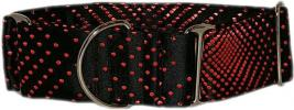 Fancy Collar: MB251-2 Red Dots on Black Brocade - Click For Enlargement
