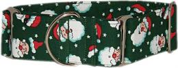 Fancy Collar: MB265-1.5 Santa on Green - Click For Enlargement